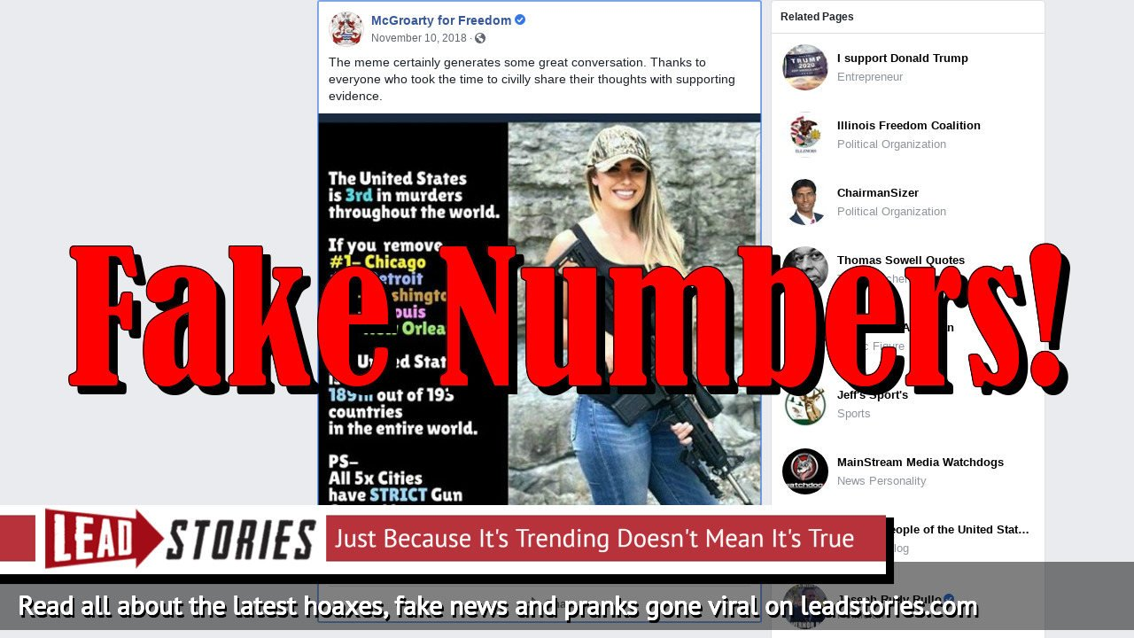 Fake News: US Is NOT 3rd In Murders; Removing Chicago, Detroit, Washington, St Louis, New Orleans Would NOT Make It 189 out of 193