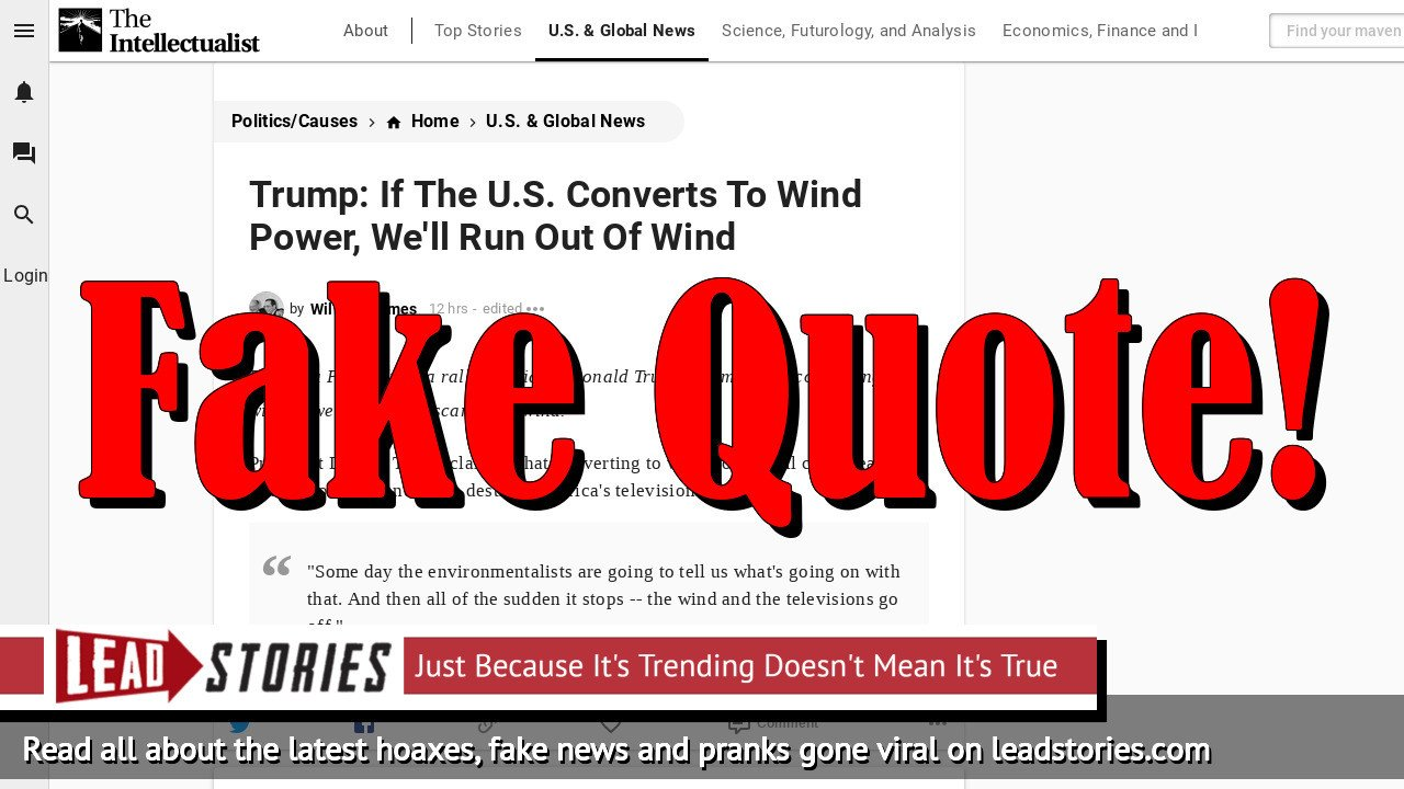 """Fake News: Donald Trump Did NOT Say """"If The U.S. Converts To Wind Power, We'll Run Out Of Wind"""""""