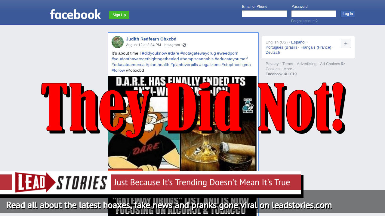 Fake News: D.A.R.E. Has NOT Finally Ended Its Anti-Weed Campaign, Has Not Quietly Removed Cannabis From 'Gateway Drugs' List