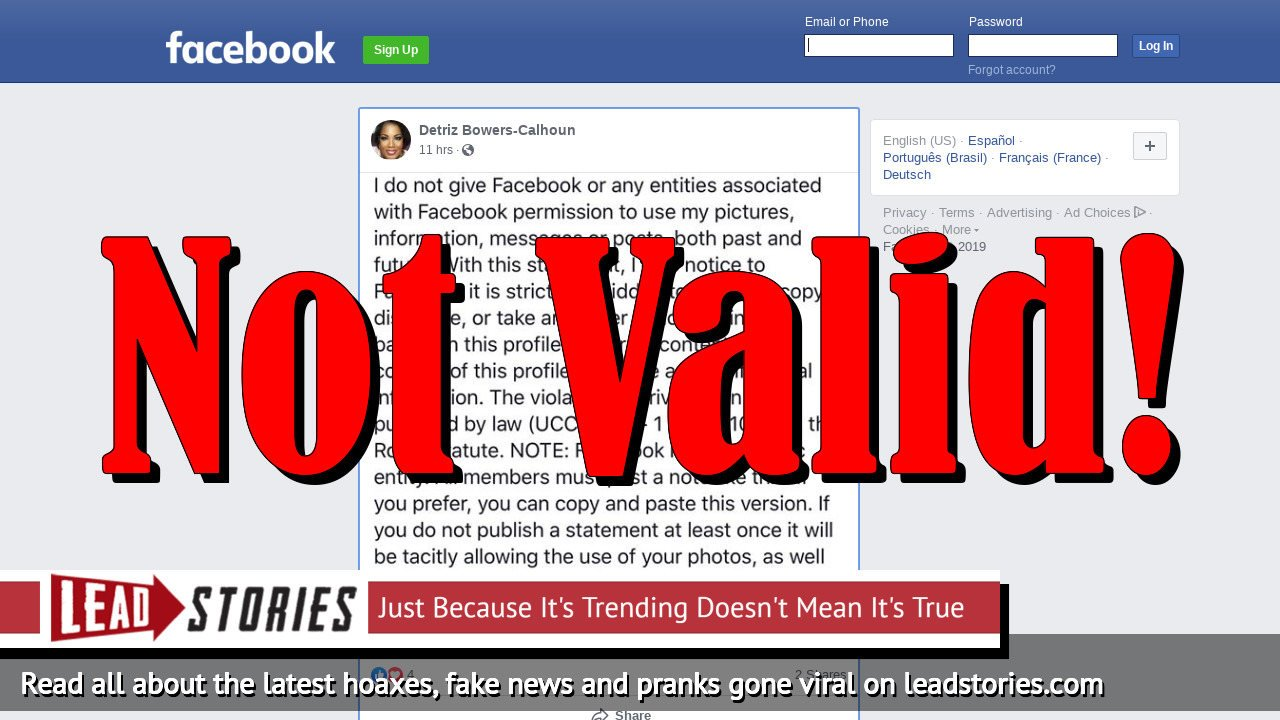 Fake News: Posting A Facebook Status With Legal Gibberish DOES NOT Modify Your Agreement With Facebook In Any Way