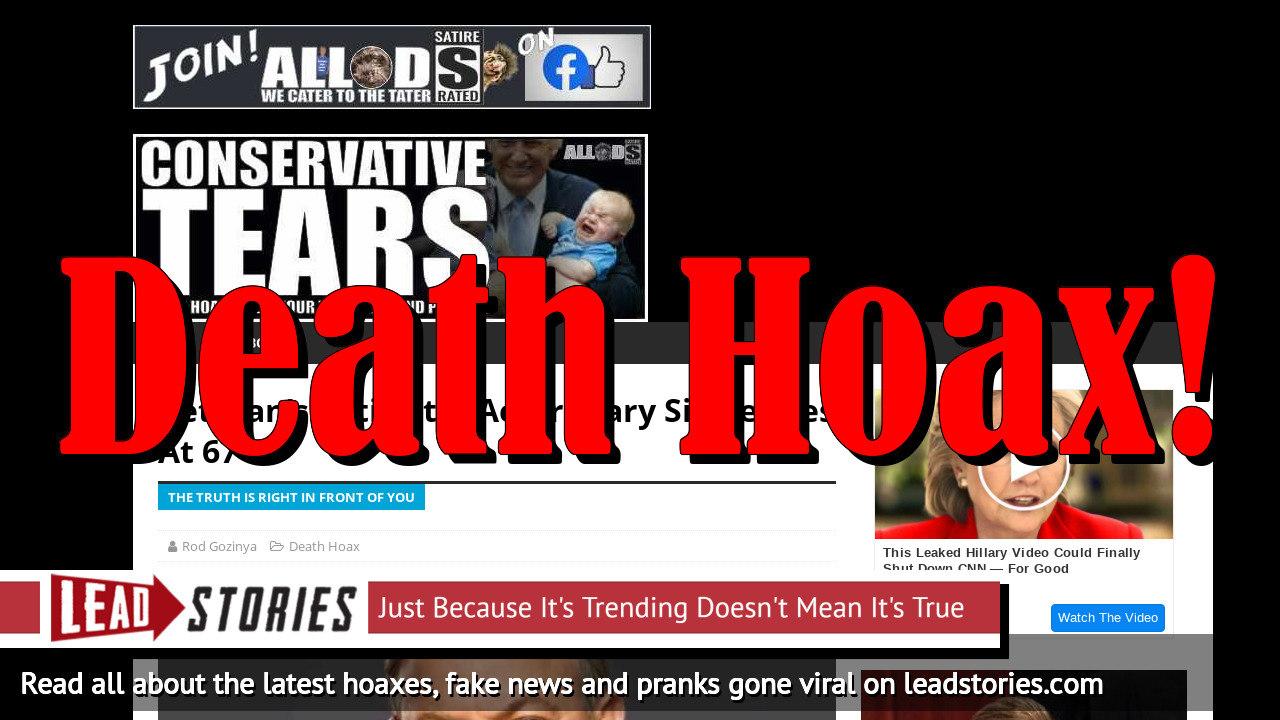 Screenshot of https://conservativetears.com/2019/08/02/veterans-activist-actor-gary-sinise-dies-at-67/