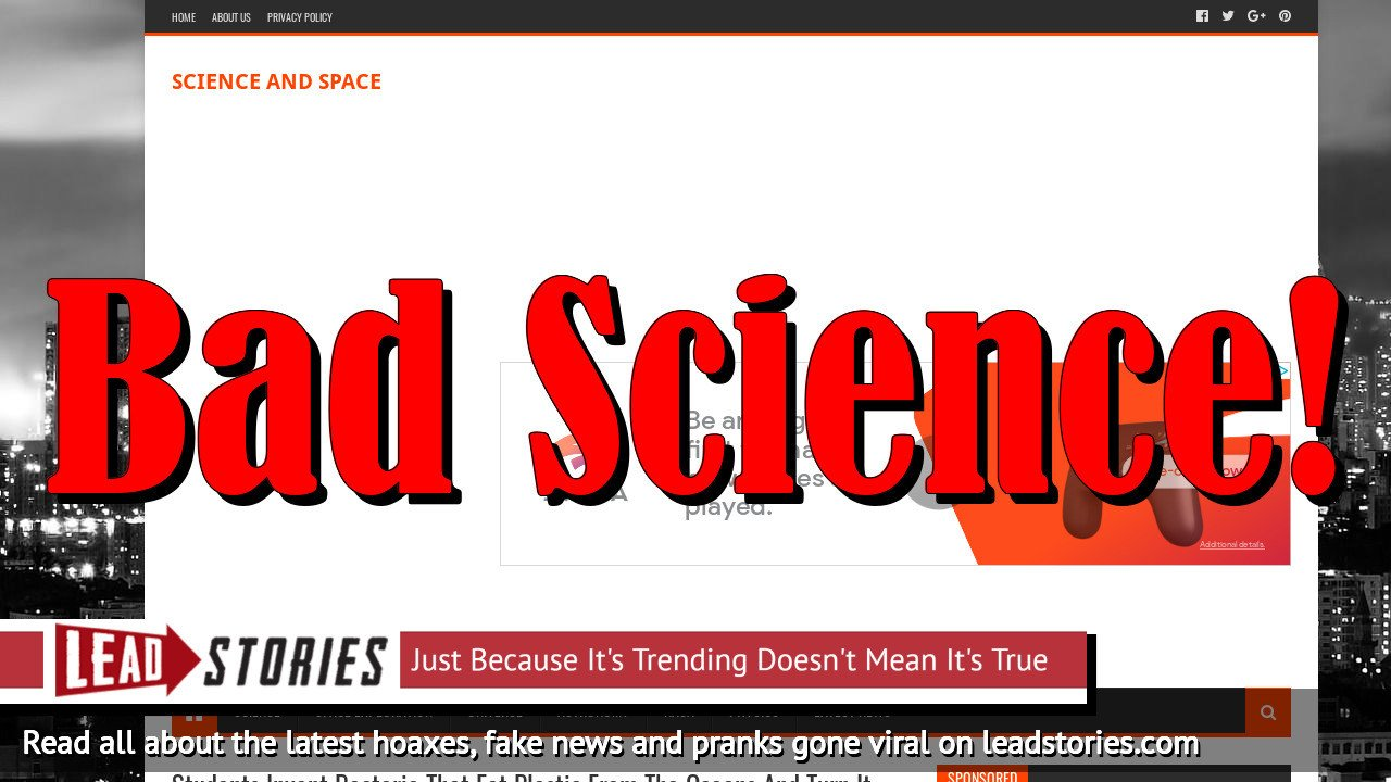 Fake News: Students Did NOT Invent Bacteria That Eat Plastic From The Oceans And Turn It Into Water