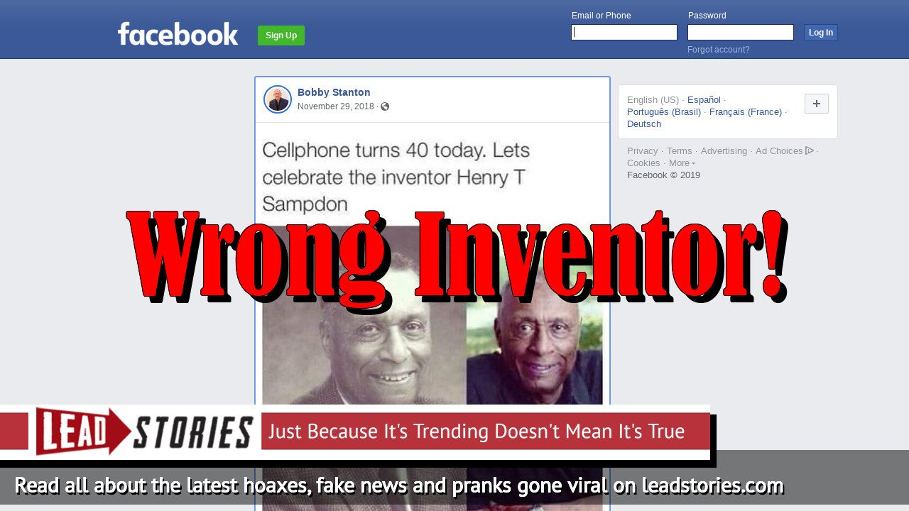 Fake News: Henry T Sampdon (or Sampson) Was NOT The Inventor of the Cellphone