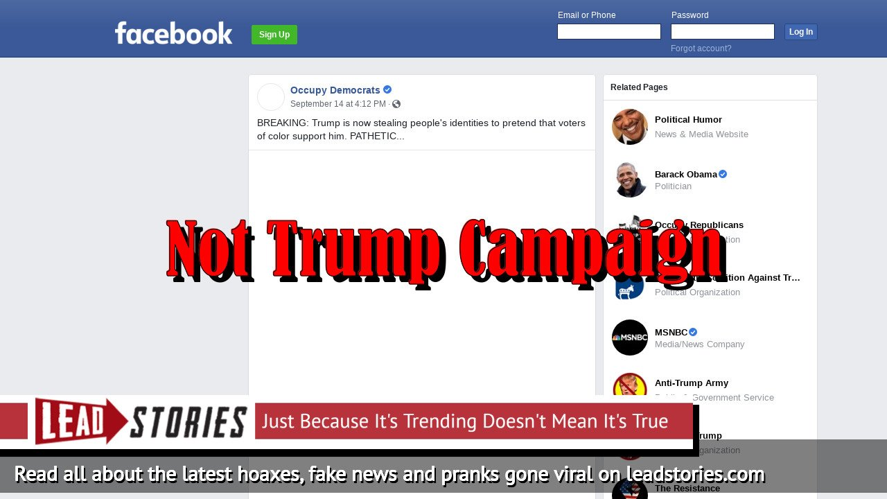 Fake News: Trump Campaign Did NOT Steal Rykard Jenkins Identity