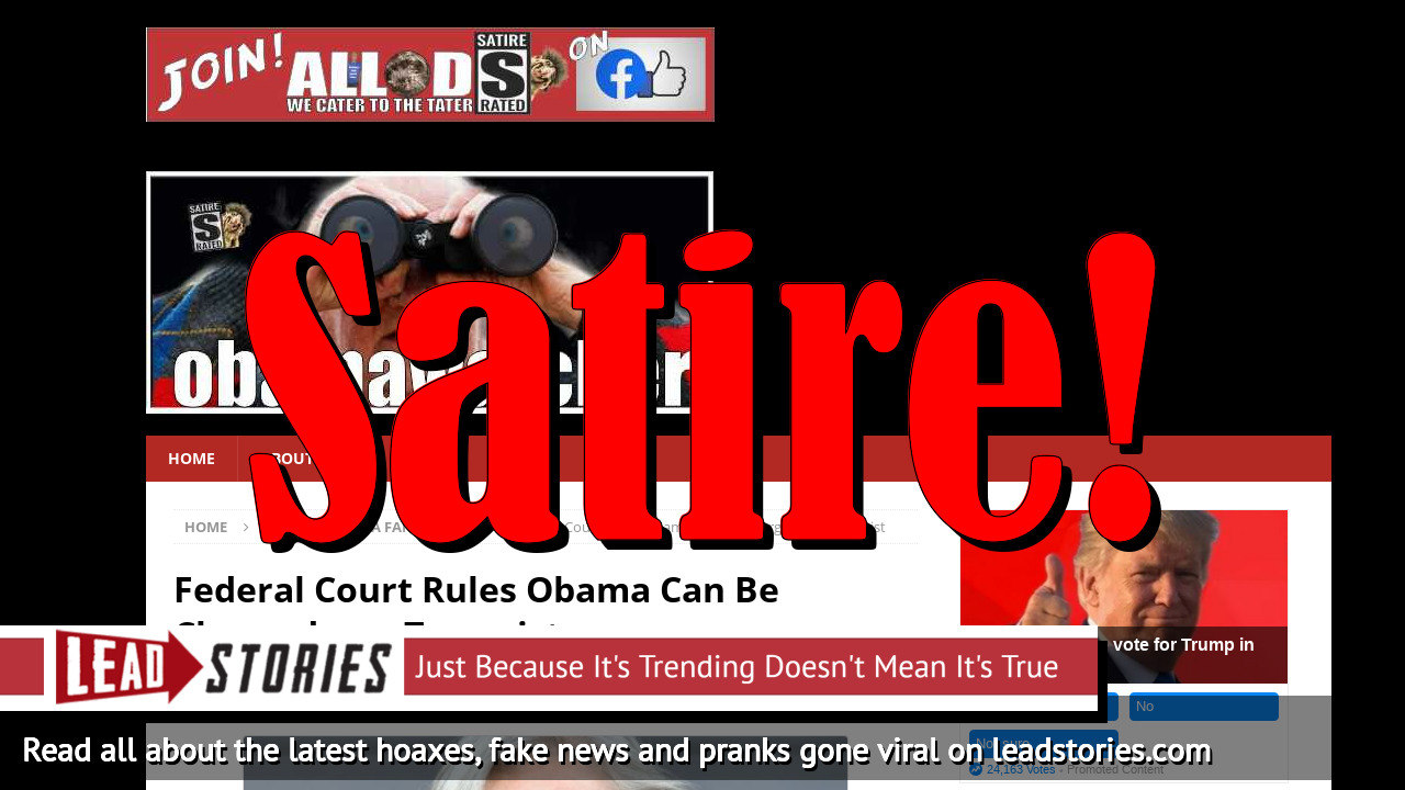 Screenshot of https://obamawatcher.com/2019/07/federal-court-rules-obama-can-be-charged-as-a-terrorist/
