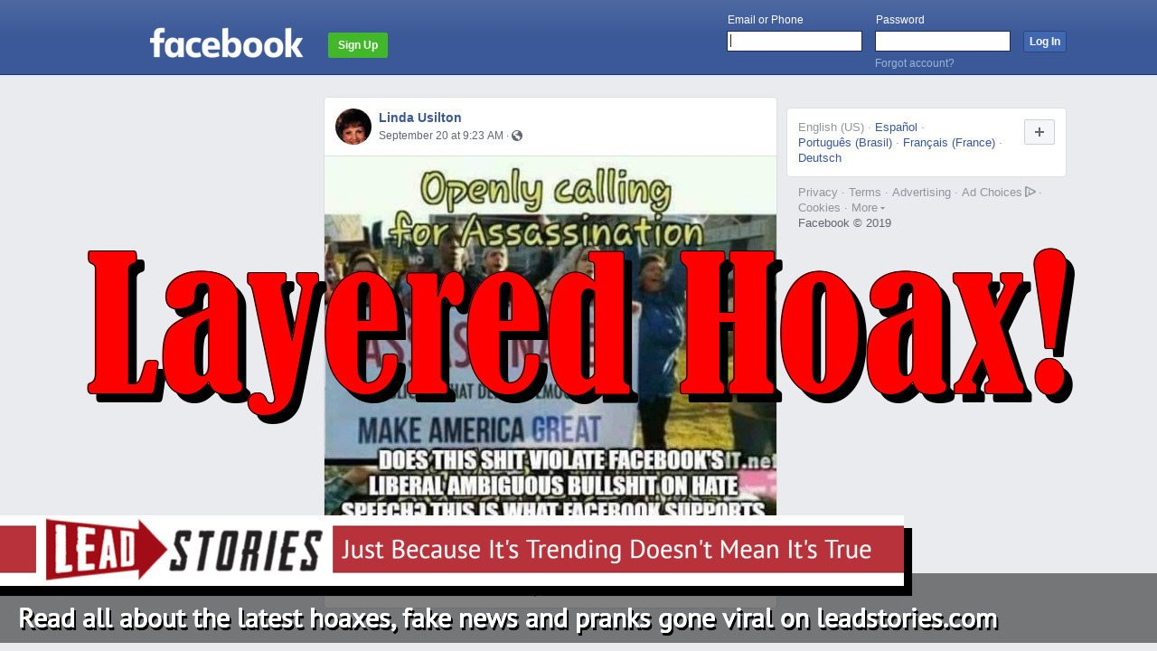 Fake News: Facebook Does NOT Support Openly Calling For Assassination of Republicans That Defeat Democrats