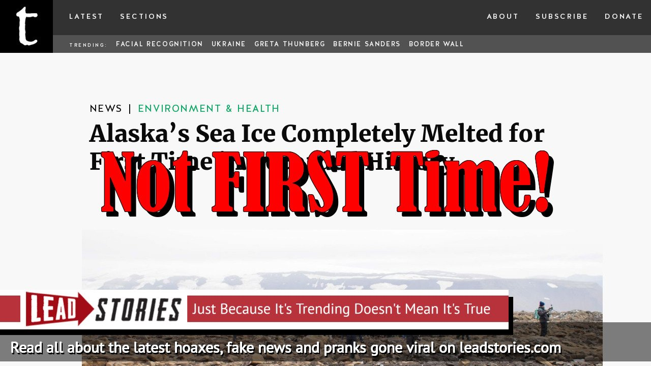 Fake News: Alaska's Sea Ice Completely Melted, But NOT For First Time In Recorded History