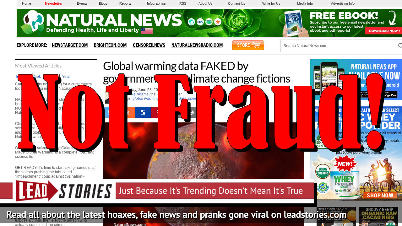 Fake News: Global Warming Data NOT FAKED By Government To Fit Climate Change Fictions