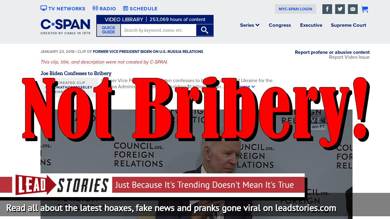 Fake News: Joe Biden Does NOT Confess to Bribery