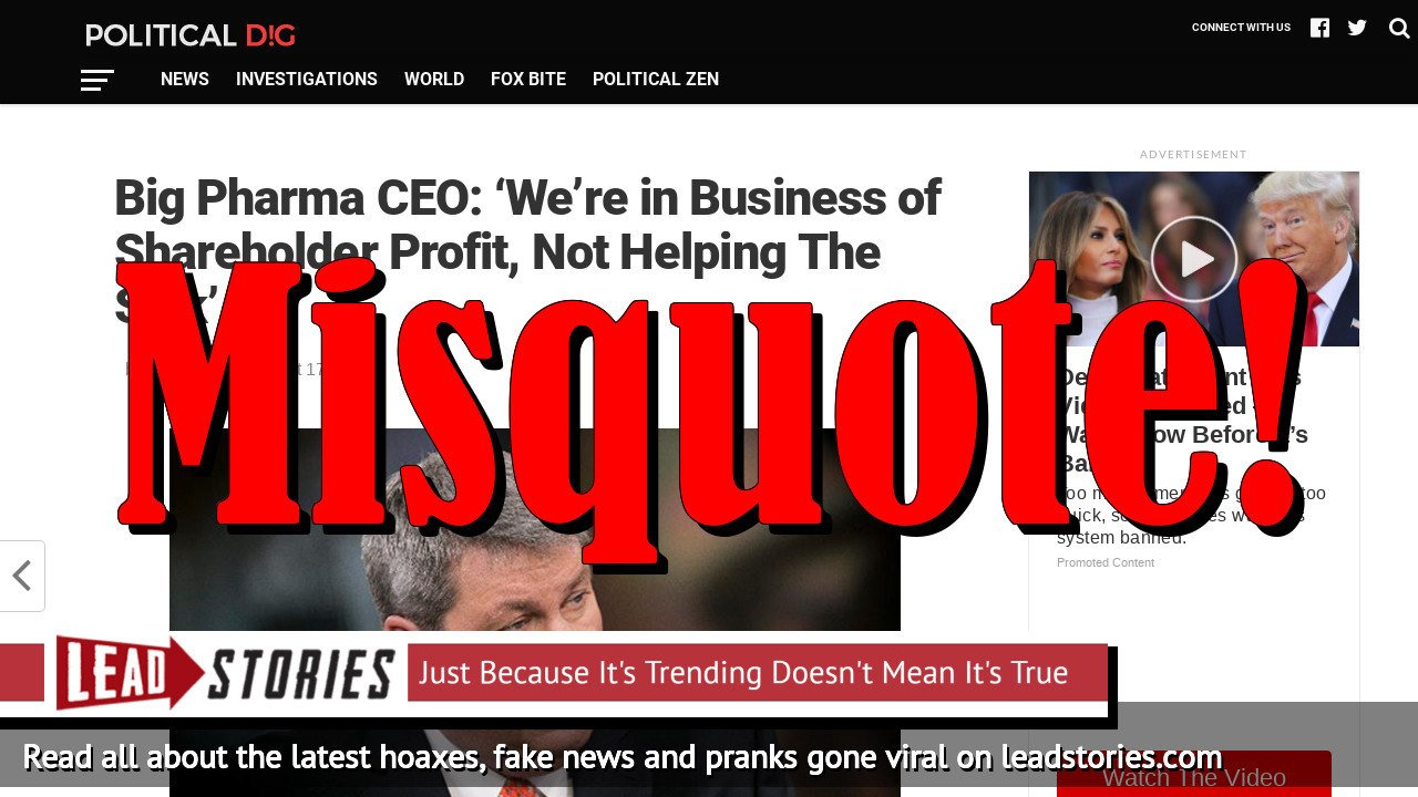 """Fake News: Big Pharma CEO Did NOT Say """"We're in Business of Shareholder Profit, Not Helping The Sick"""""""