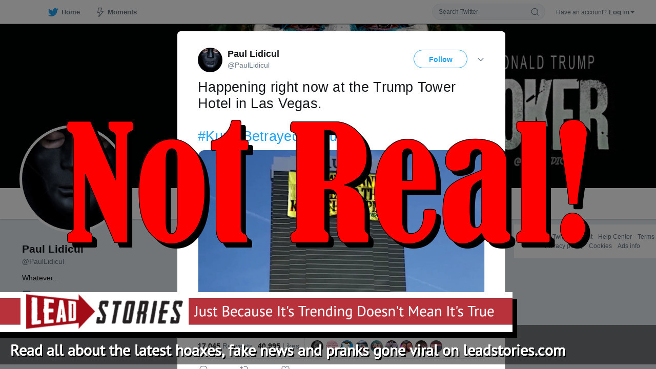 Fake News: No Greenpeace Banner On Vegas Trump Hotel Saying He Betrayed and Murdered The Kurdish People