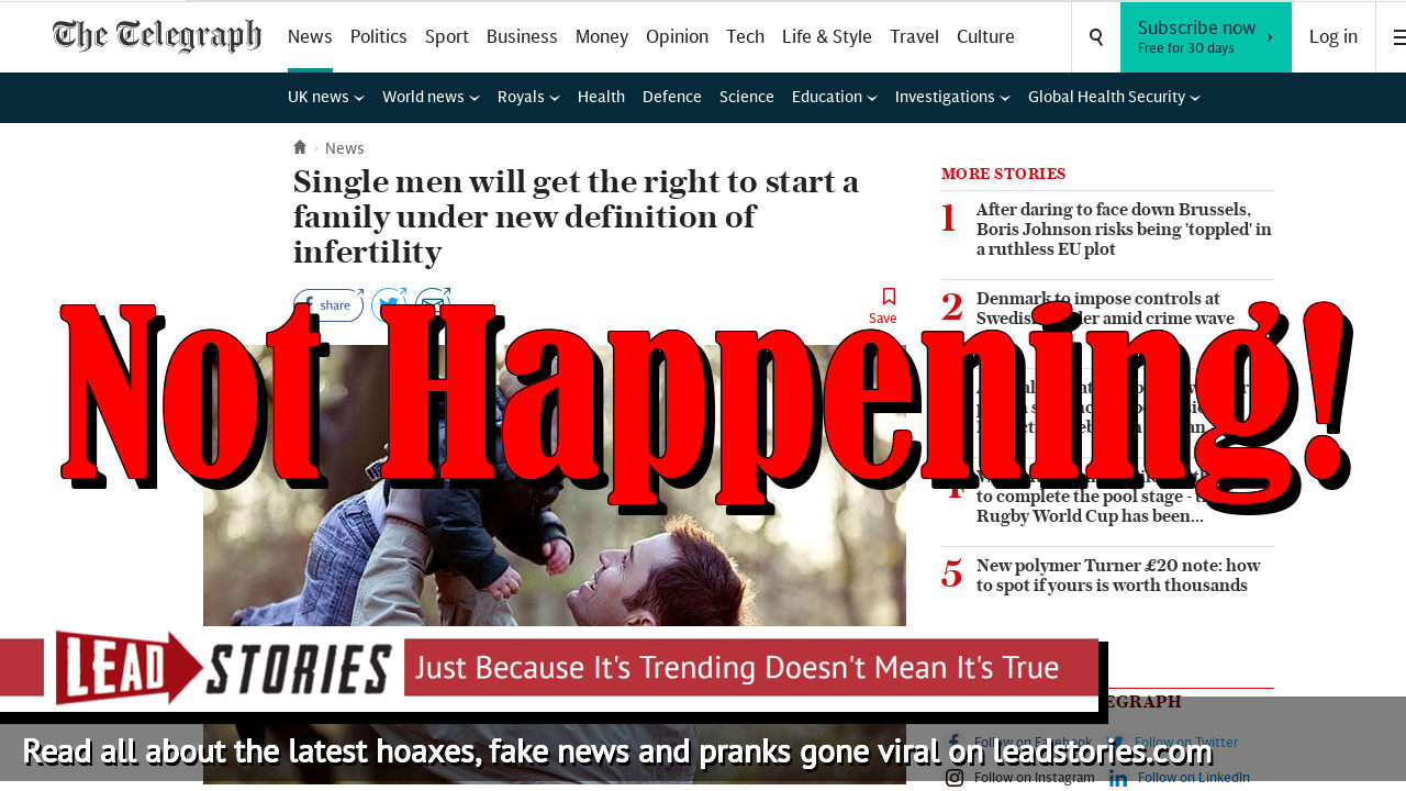 Fake News: Single Men Will NOT Get The Right To Start A Family Under New Definition Of Infertility