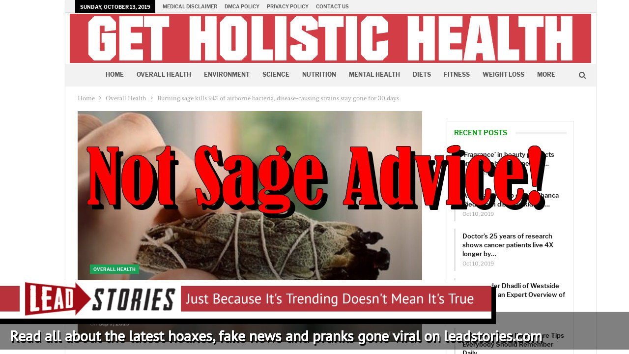Fake News: Burning Sage Does NOT Kills 94% Of Airborne Bacteria, Disease-Causing Strains Stay Gone For 30 Days