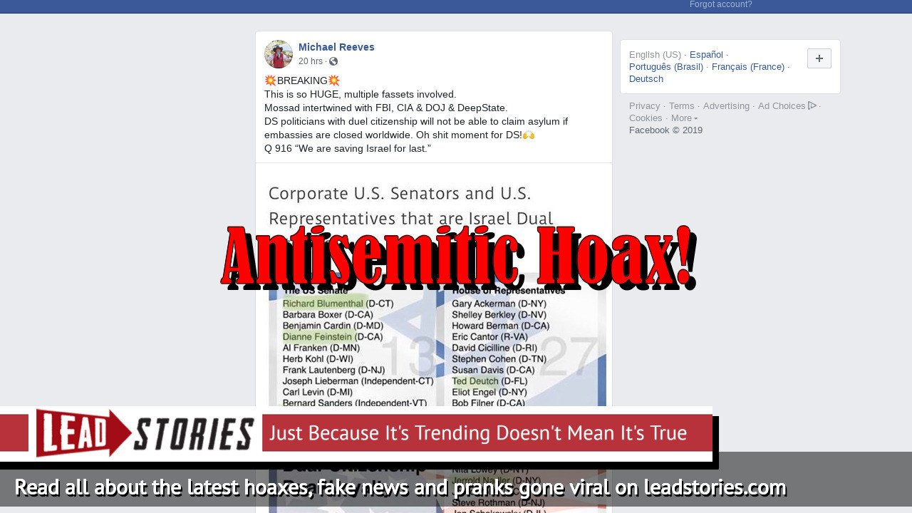 Fake News: 13 Jewish U.S. Senators And 27 Jewish U.S. Representatives Do NOT Have Dual U.S. And Israel Citizenship