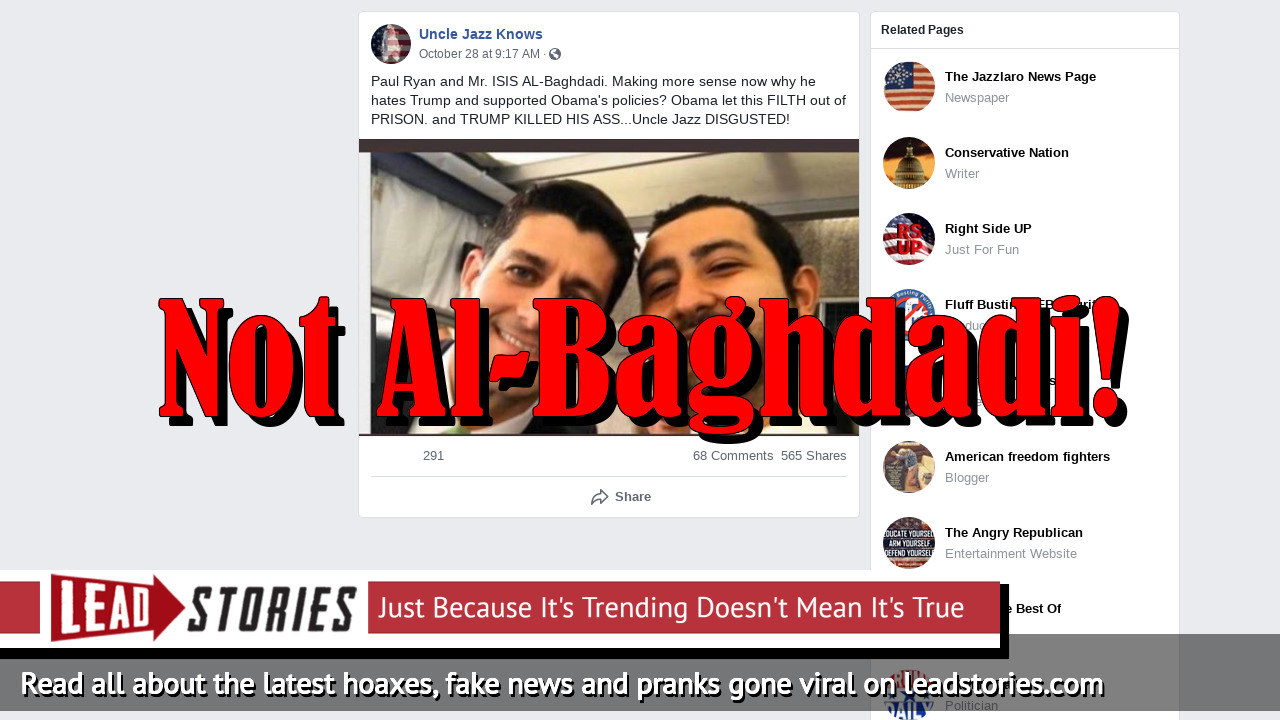 Fake News: Former Speaker Paul Ryan Is NOT Photographed With ISIS Leader Al-Baghdadi