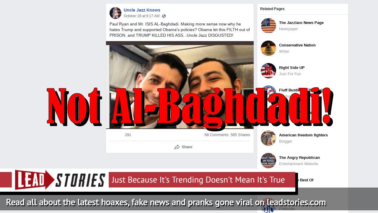 Fake News: Former Speaker Paul Ryan Is NOT Photographed With ISIS Leader Al-Baghdadi