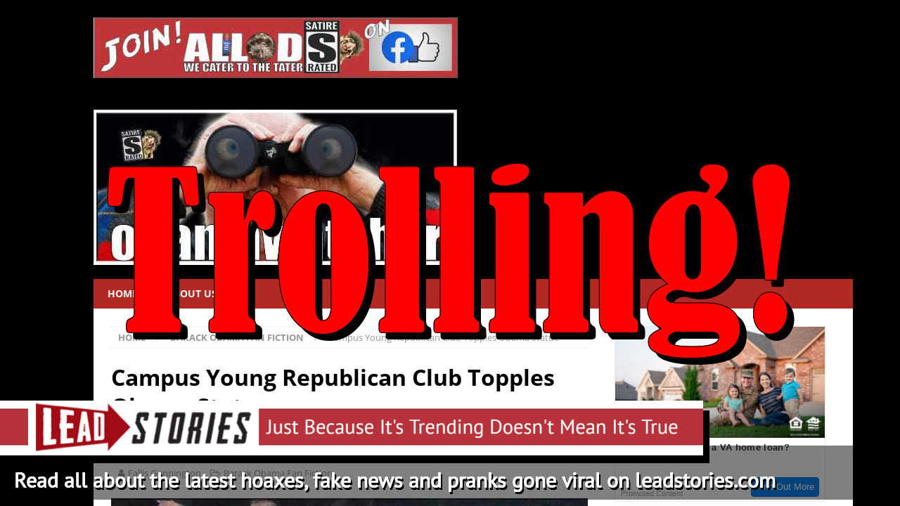 Fake News: Campus Young Republican Club Did NOT Topple Obama Statue