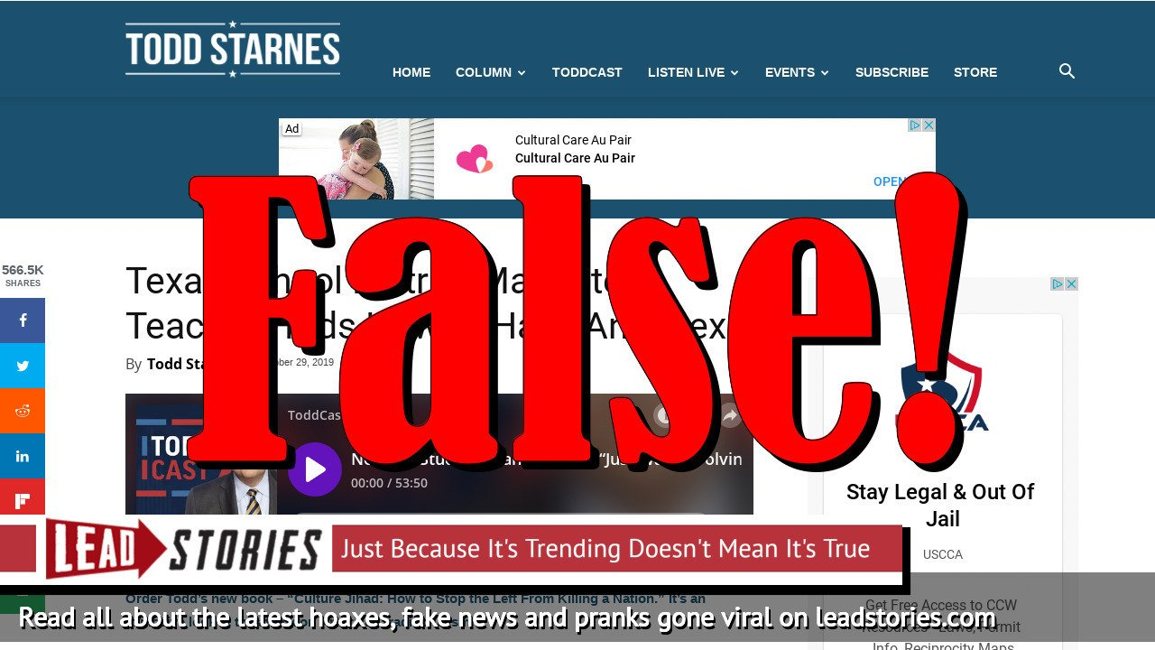 Fake News: Texas School District Does NOT Mandate Teaching Kids How To Have Anal Sex