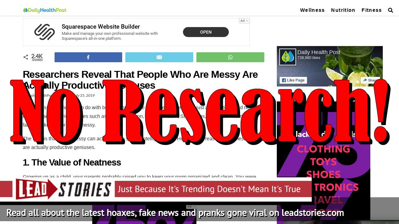 Fake News: Researchers Do NOT Reveal That People Who Are Messy Are Actually Productive Geniuses
