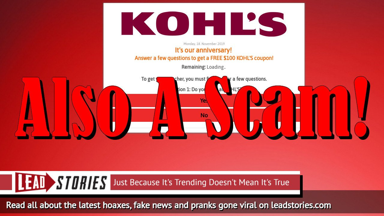 Fake News: Kohl's Is NOT Giving Away $100 Coupons For Sharing A Link