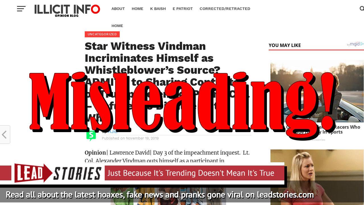 Fake News: Star Witness Vindman Does NOT Incriminate Himself As Whistleblower's Source