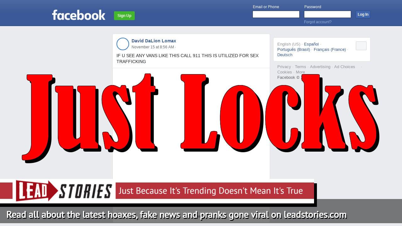 Fake News: Do NOT Call 911 Just Because You Spot A Van With External Locks