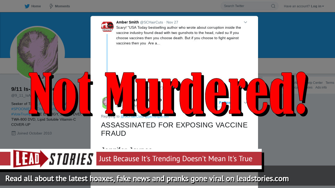 Fake News: Best-selling Author Jennifer Jaynes NOT Assassinated For Exposing Vaccine Fraud
