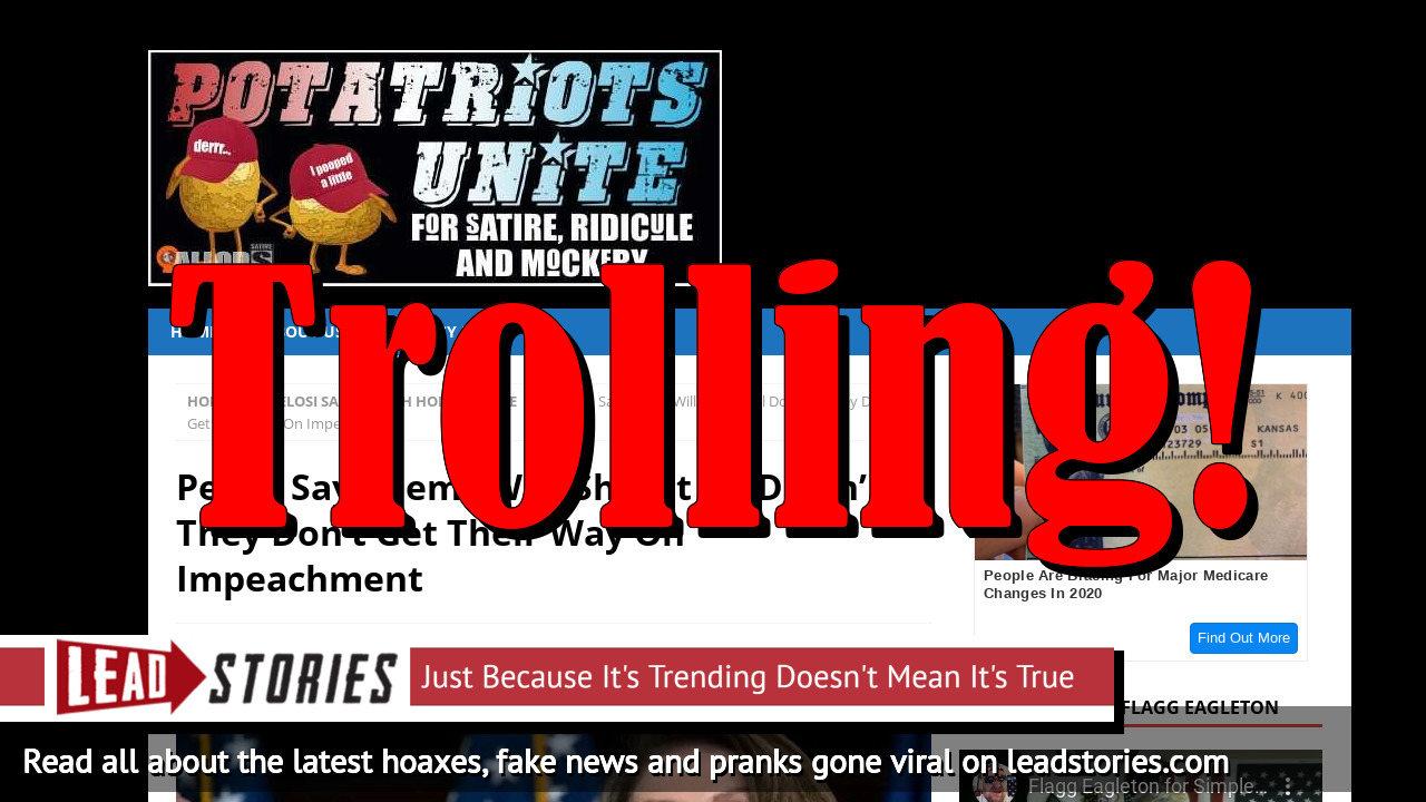 Screenshot of https://potatriotsunite.com/pelosi-says-dems-will-shut-it-all-down-if-they-dont-get-their-way-on-impeachment/