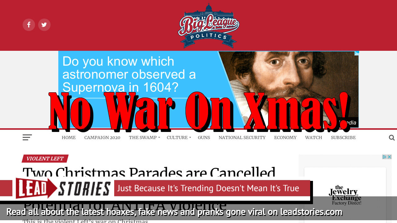 Fake News: Two Christmas Parades NOT Cancelled In North Carolina Because of Potential For ANTIFA Violence
