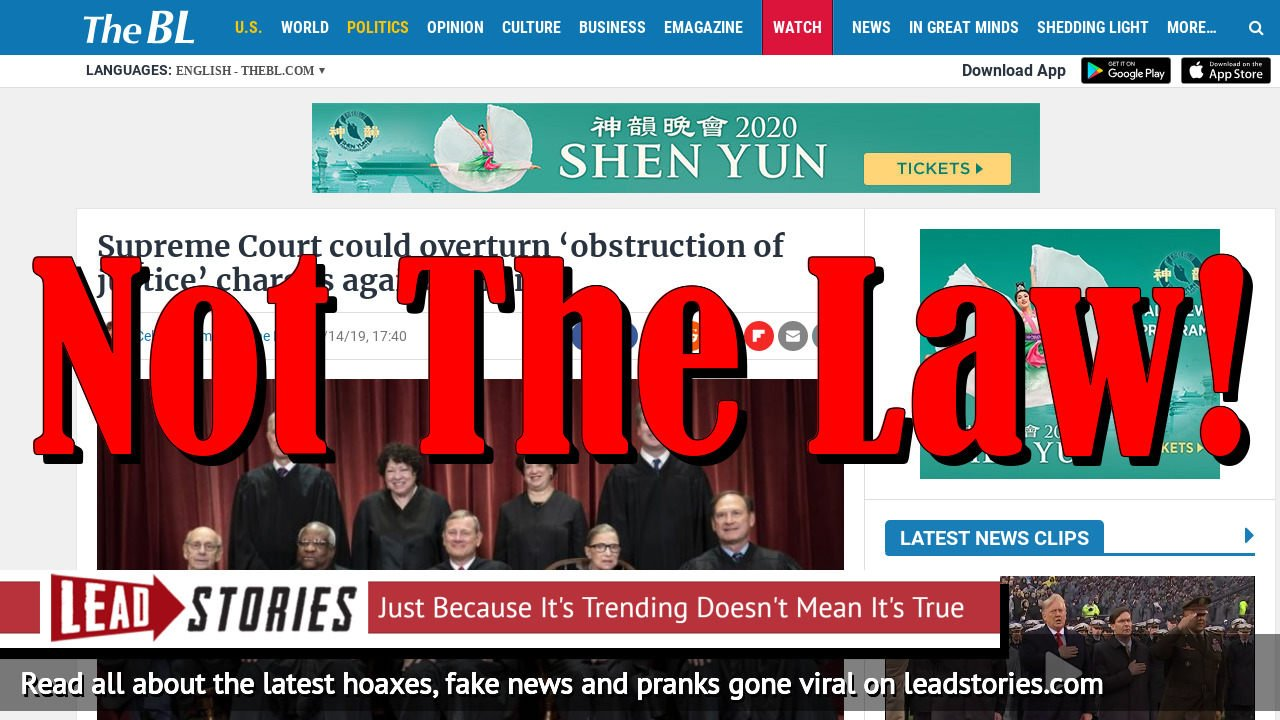 Fake News: Supreme Court Could NOT Overturn 'Obstruction Of Justice' Charges Against Trump