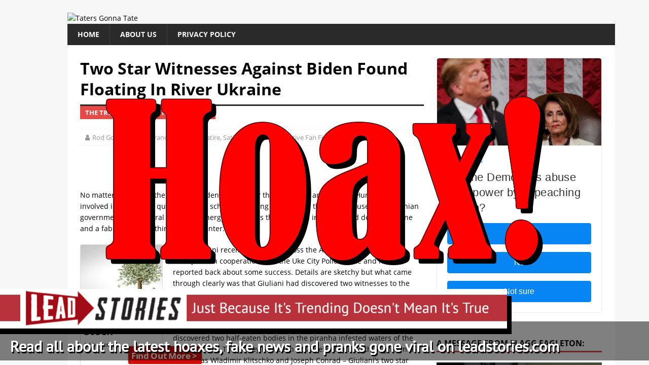 Fake News: Two Star Witnesses Against Biden NOT Found Floating In River Ukraine
