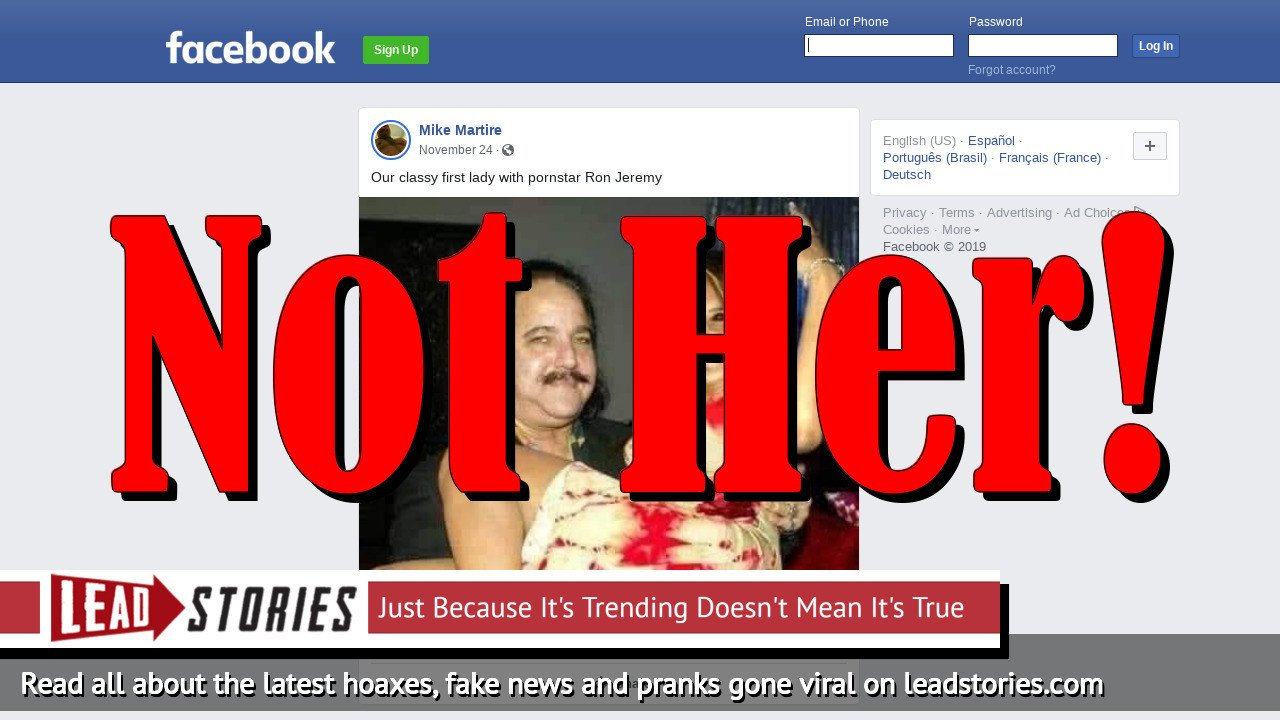 Fake News: First Lady Melania Trump Is NOT With Pornstar Ron Jeremy