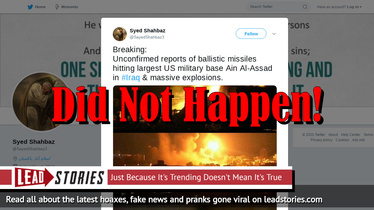 Fake News: Iranian Ballistic Missiles Did NOT Hit The Largest US Military Base In Iraq