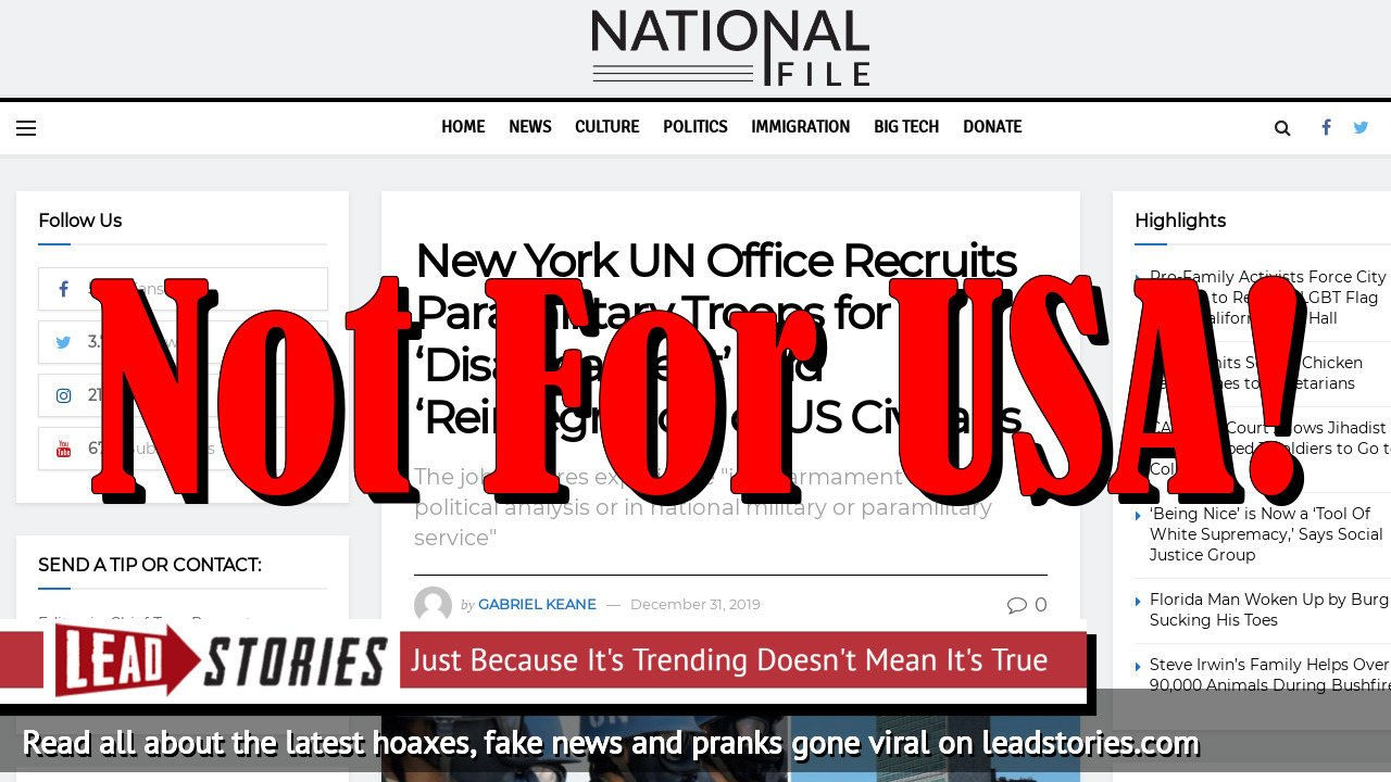 Fake News: New York UN Office Does NOT Recruit Paramilitary Troops for 'Disarmament' and 'Reintegration' of US Civilians