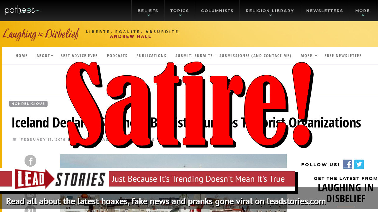 Screenshot of https://www.patheos.com/blogs/laughingindisbelief/2019/02/iceland-declares-southern-baptist-churches-terrorist-organizations/?fbclid=IwAR2xTc7YHWpzt0MtZ1e7Y4QudXksL_O9CyddaswF4sXW-p62SVMfGKwbKz4