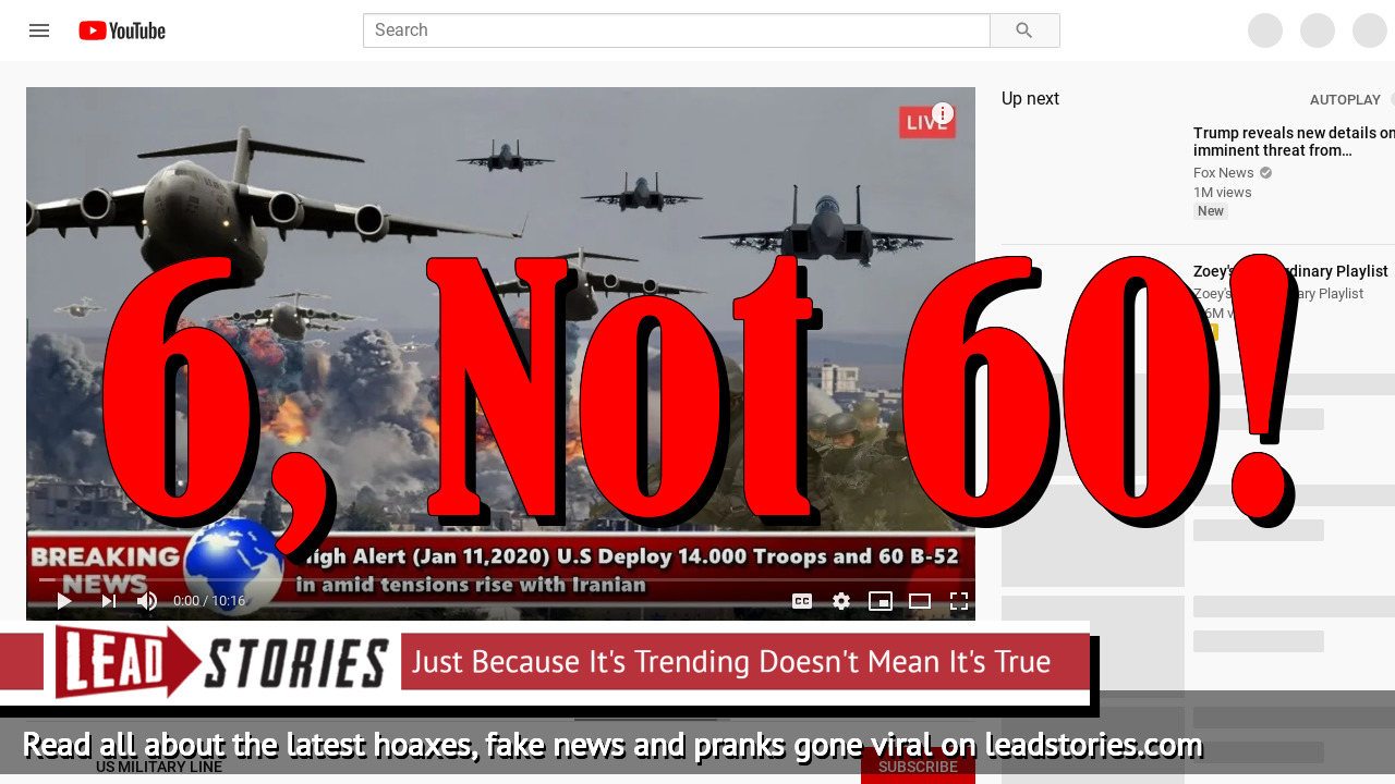 Fake News: U.S. Did Not Deploy 60 B-52 Bombers To Diego Garcia Amid Rising Tensions With Iran