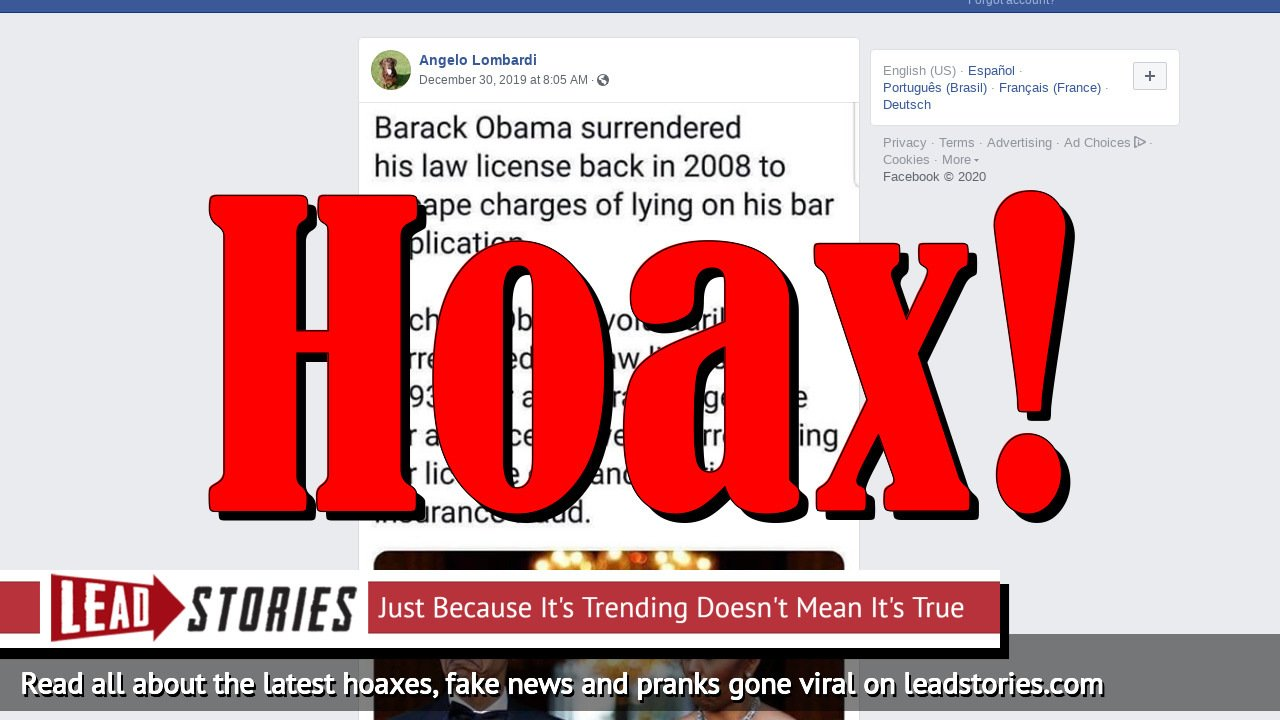 Fake News: Barack Obama Did NOT Surrender His Law License In 2008 To Escape Charges Of Lying On His Bar Application