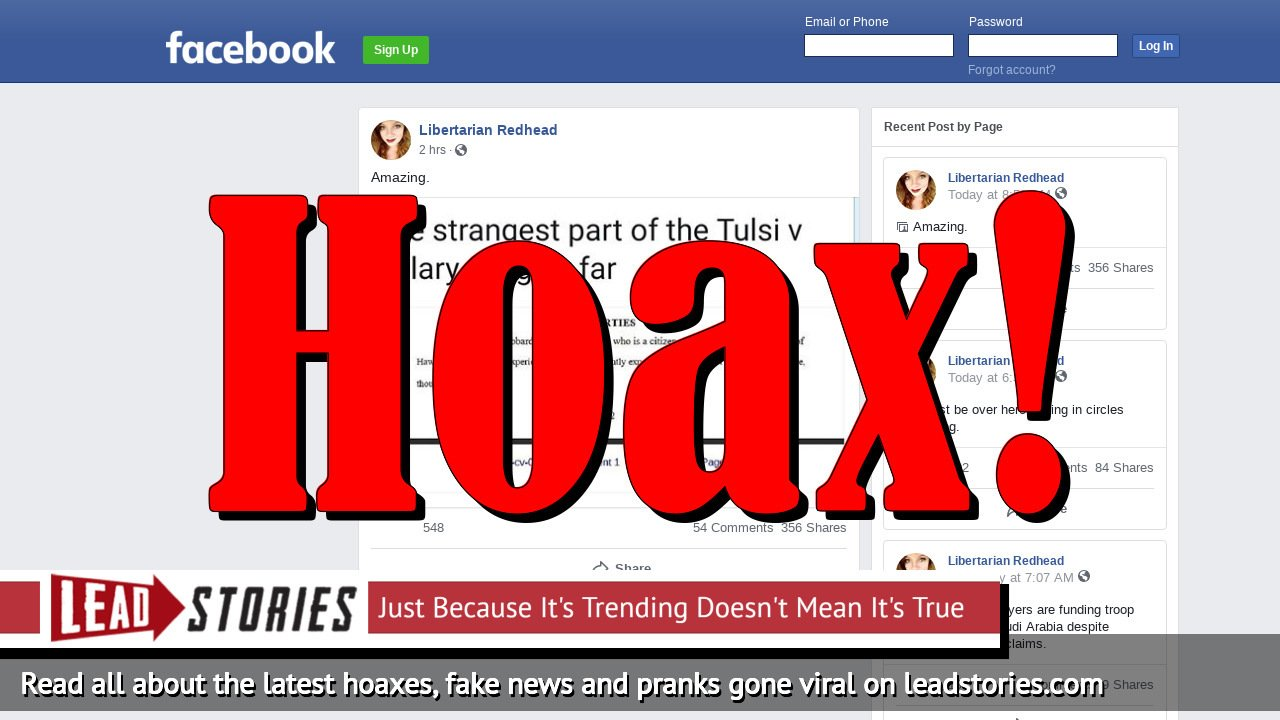 Fake News: Tulsi Gabbard Did NOT Include Suicide Clause In Lawsuit Against Hillary Clinton