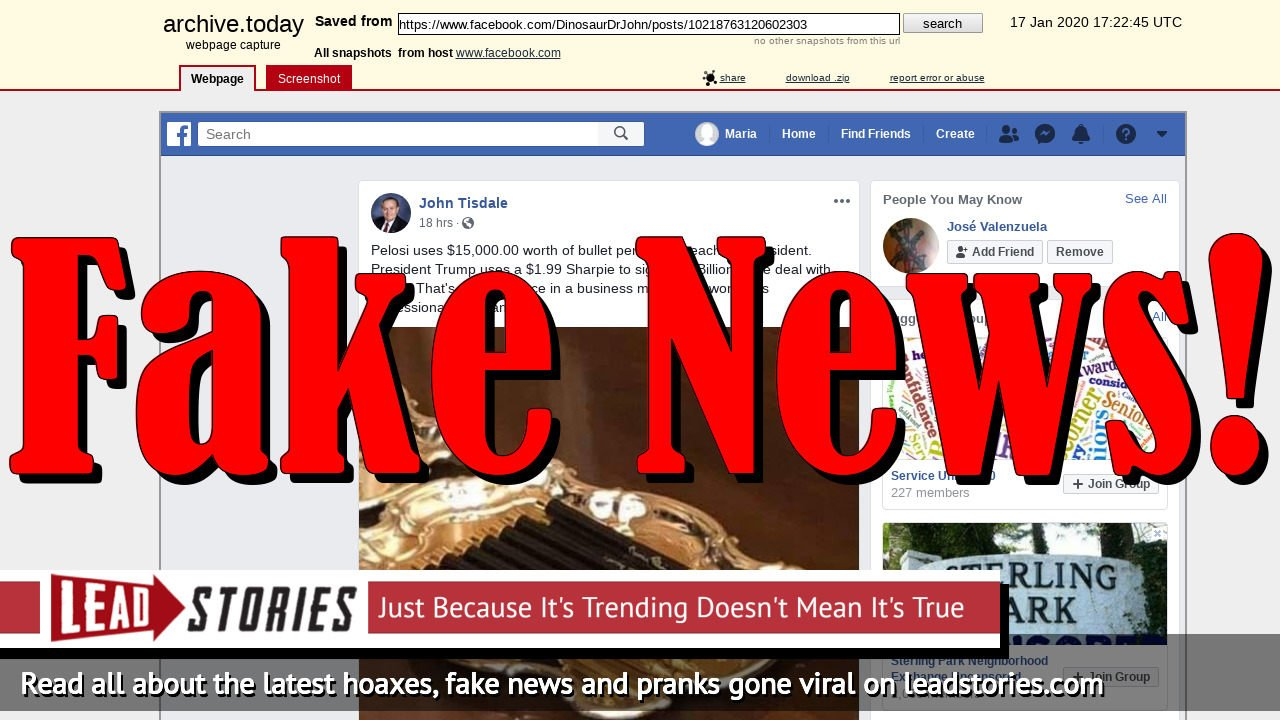 Fake News: Nancy Pelosi Did NOT Use $15,000 Worth Of Bullet Pens To Sign Articles Of Impeachment