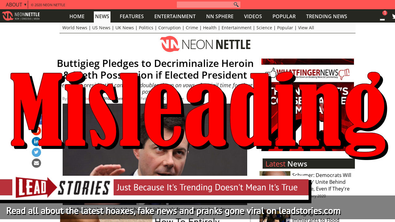 Screenshot of https://neonnettle.com/news/10278-buttigieg-pledges-to-decriminalize-heroin-meth-possession-if-elected-president