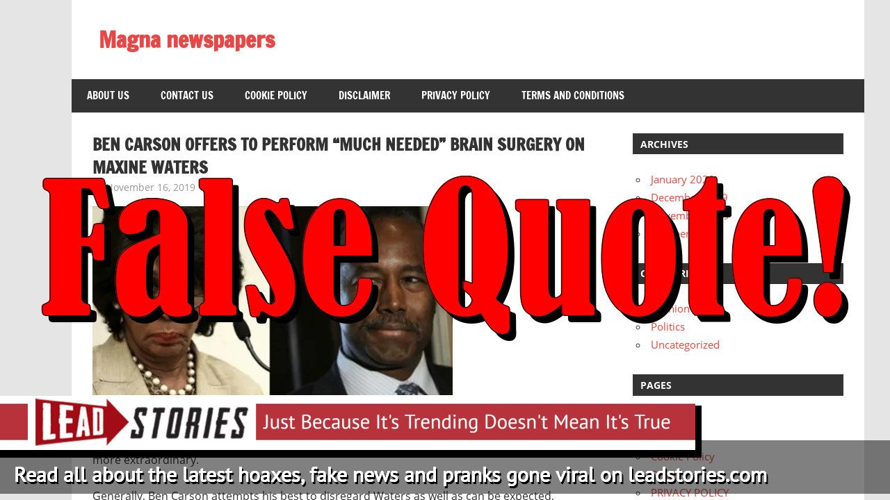 Fake News: Ben Carson Did NOT Offer to Perform 'Much Needed' Brain Surgery On Maxine Waters | Lead Stories