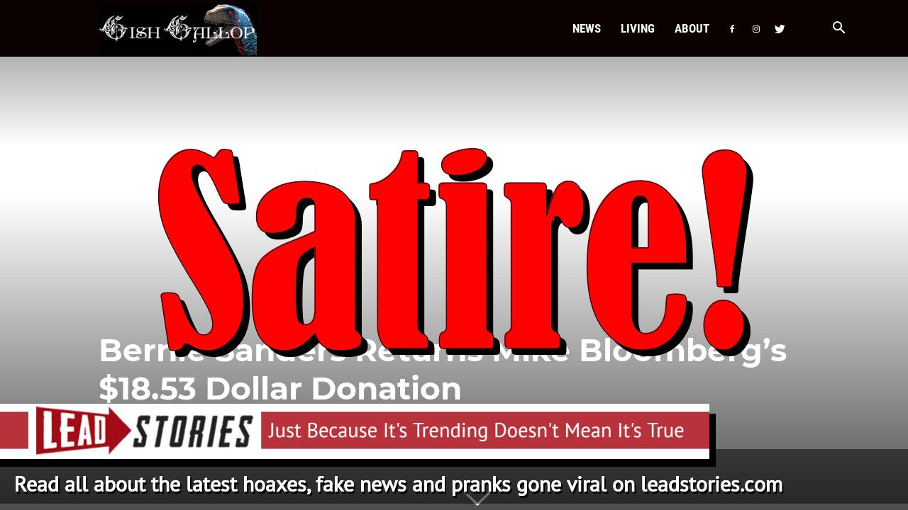 Screenshot of https://www.gishgallop.com/bernie-sanders-returns-mike-bloomberg-18-53-dollar-donation/