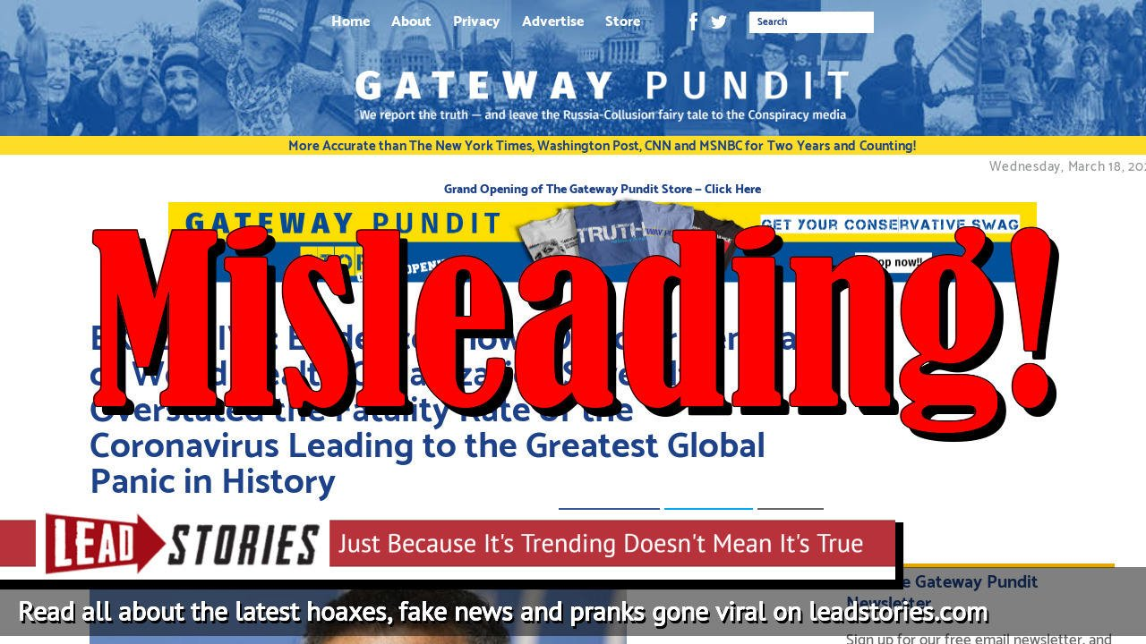 Screenshot of https://www.thegatewaypundit.com/2020/03/exclusive-evidence-shows-director-general-of-world-health-organization-severely-overstated-the-fatality-rate-of-the-coronavirus-leading-to-the-greatest-global-panic-in-history/