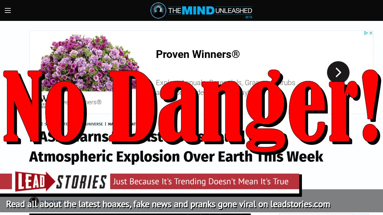 Screenshot of https://themindunleashed.com/2020/03/nasa-warns-two-asteroids-could-cause-atmospheric-explosion-over-earth-this-week.html?fbclid=IwAR2zD5ctLLJ8iLlX2aprdhw8RQswyE4lMJ85z-B6kOZEpzWinTrQYXMvfOc