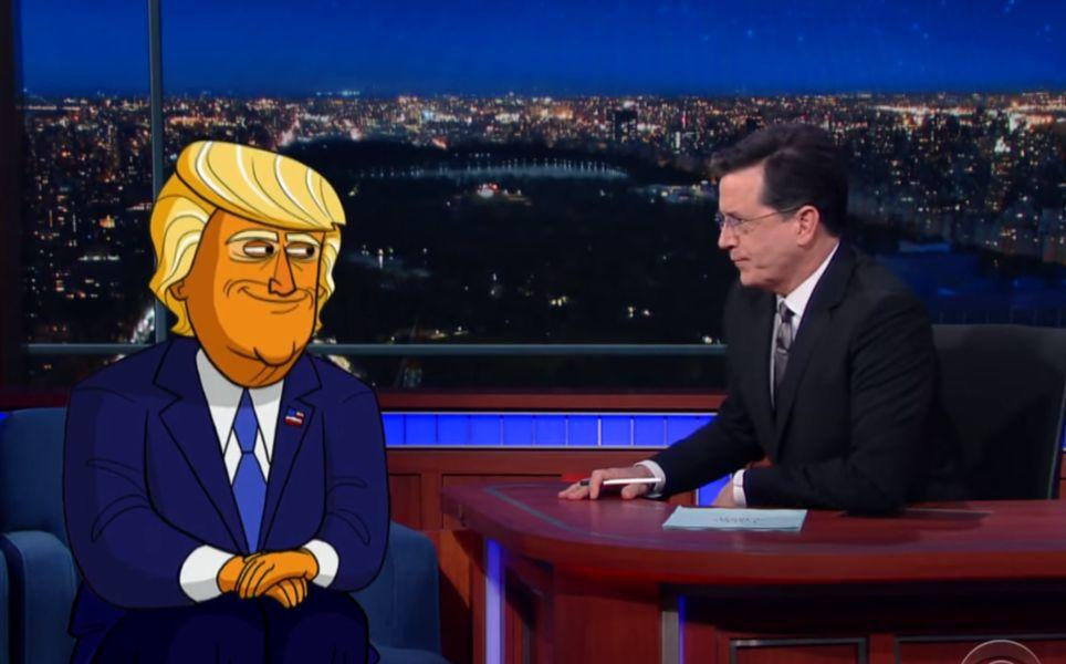 Stephen Colbert Interviews Cartoon Donald Trump
