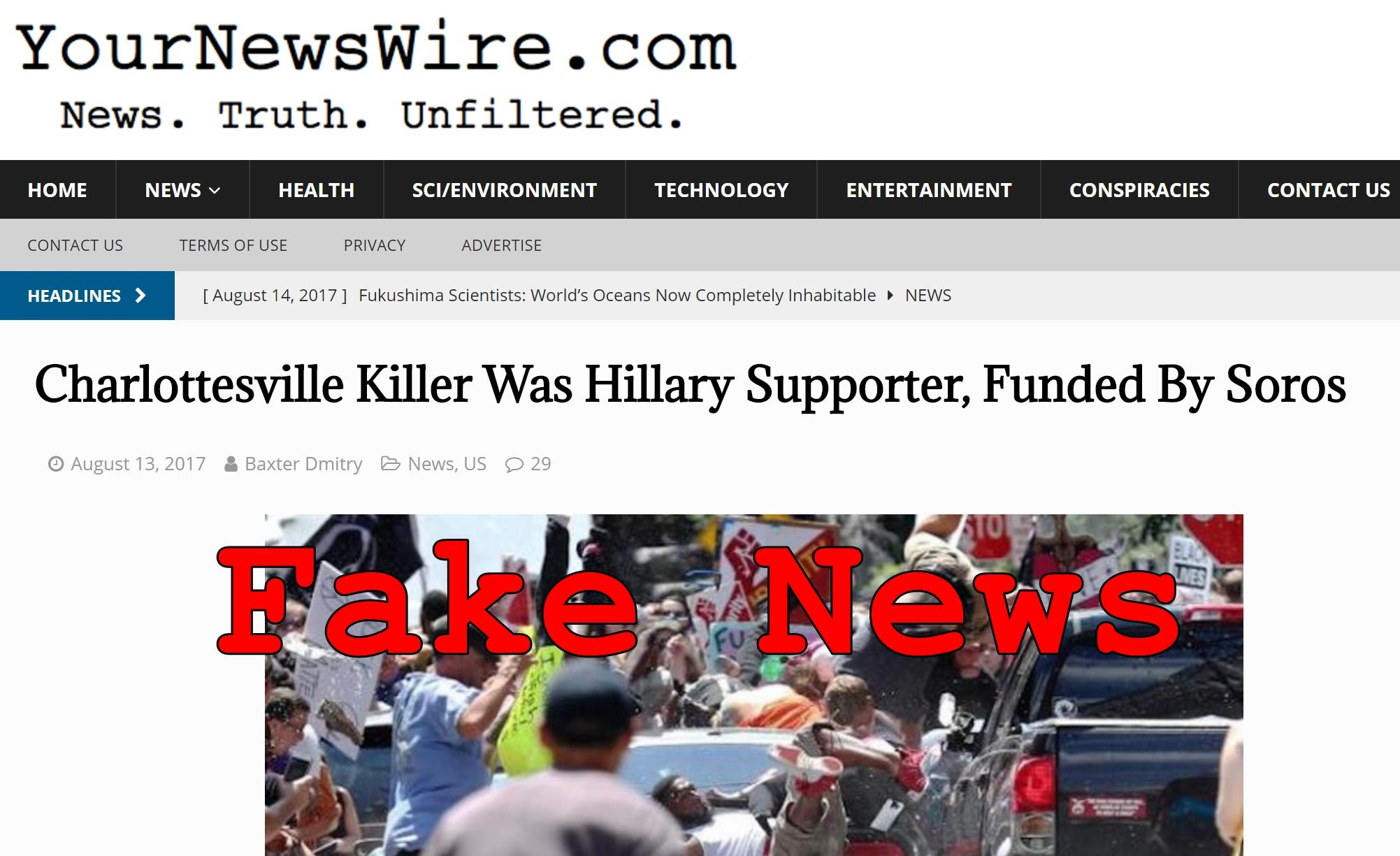 Fake News: NO Evidence Charlottesville Killer Was Hillary Supporter Funded By Soros
