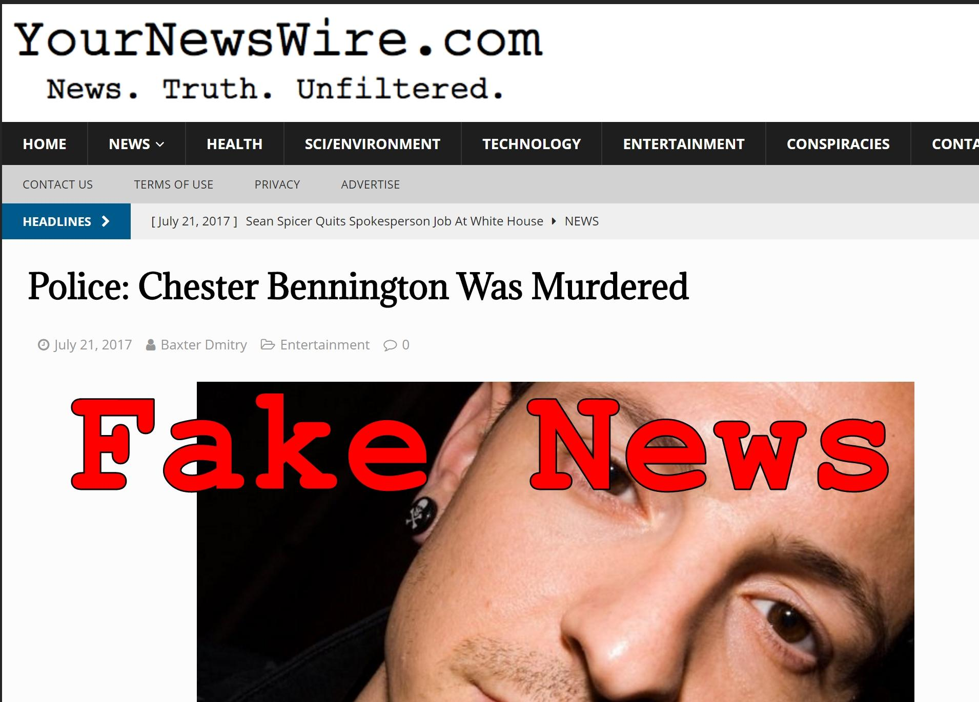Fake News: Police Did NOT Say Chester Bennington Was Murdered