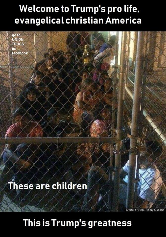 """Fake News: Photo Does NOT Show Caged Children in """"Trump's Pro Life Evangelical Christian America"""""""