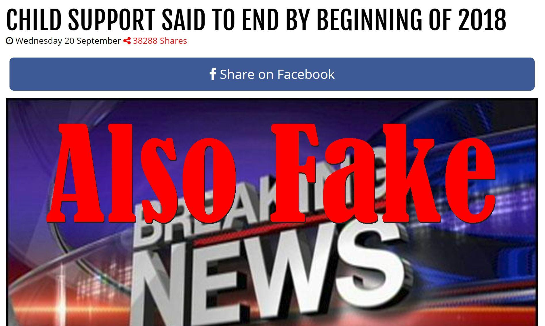 Fake News: Child Support NOT Said To End By Beginning Of 2018