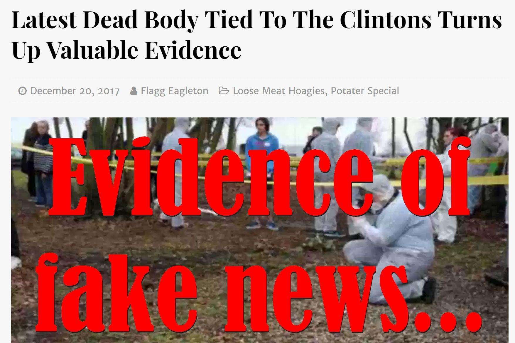 Fake News: Latest Dead Body NOT Tied To The Clintons, Did NOT Turn Up Valuable Evidence